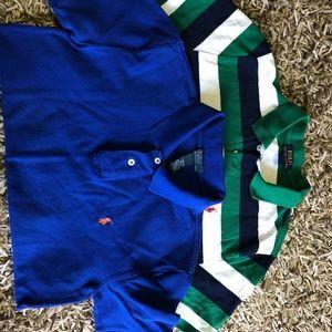 Two Boys Ralph Lauren Polo shirts size L 14 16